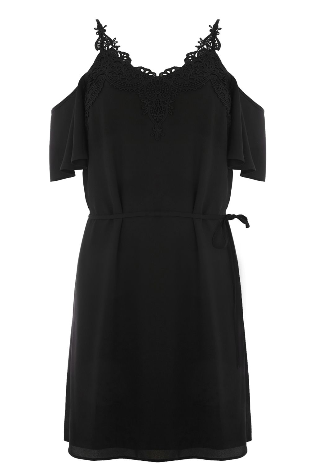 Oasis LACE TRIM COLD SHOULDER DRESS, Black