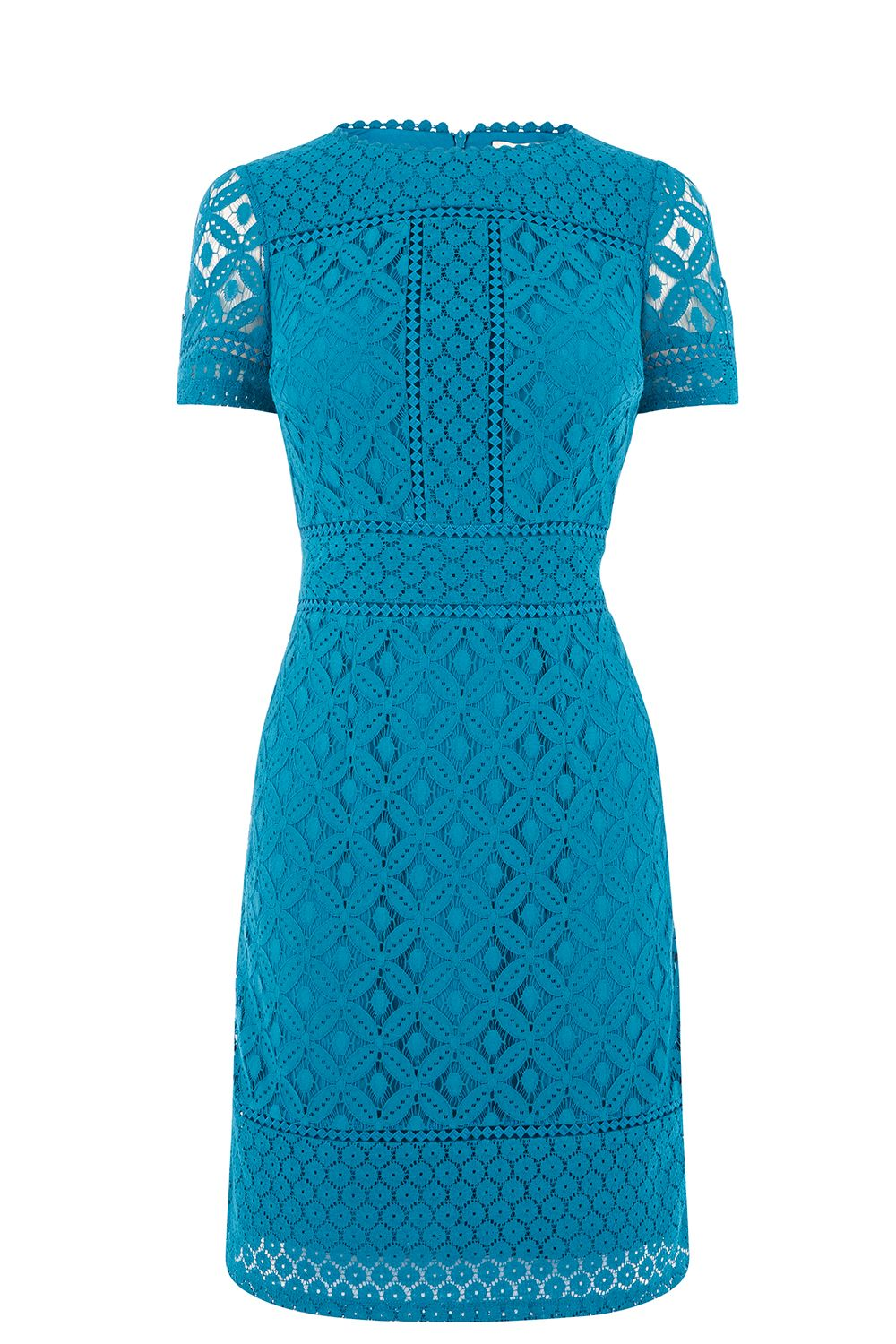 Oasis LONG ISLA LACE SHIFT DRESS, Turquoise
