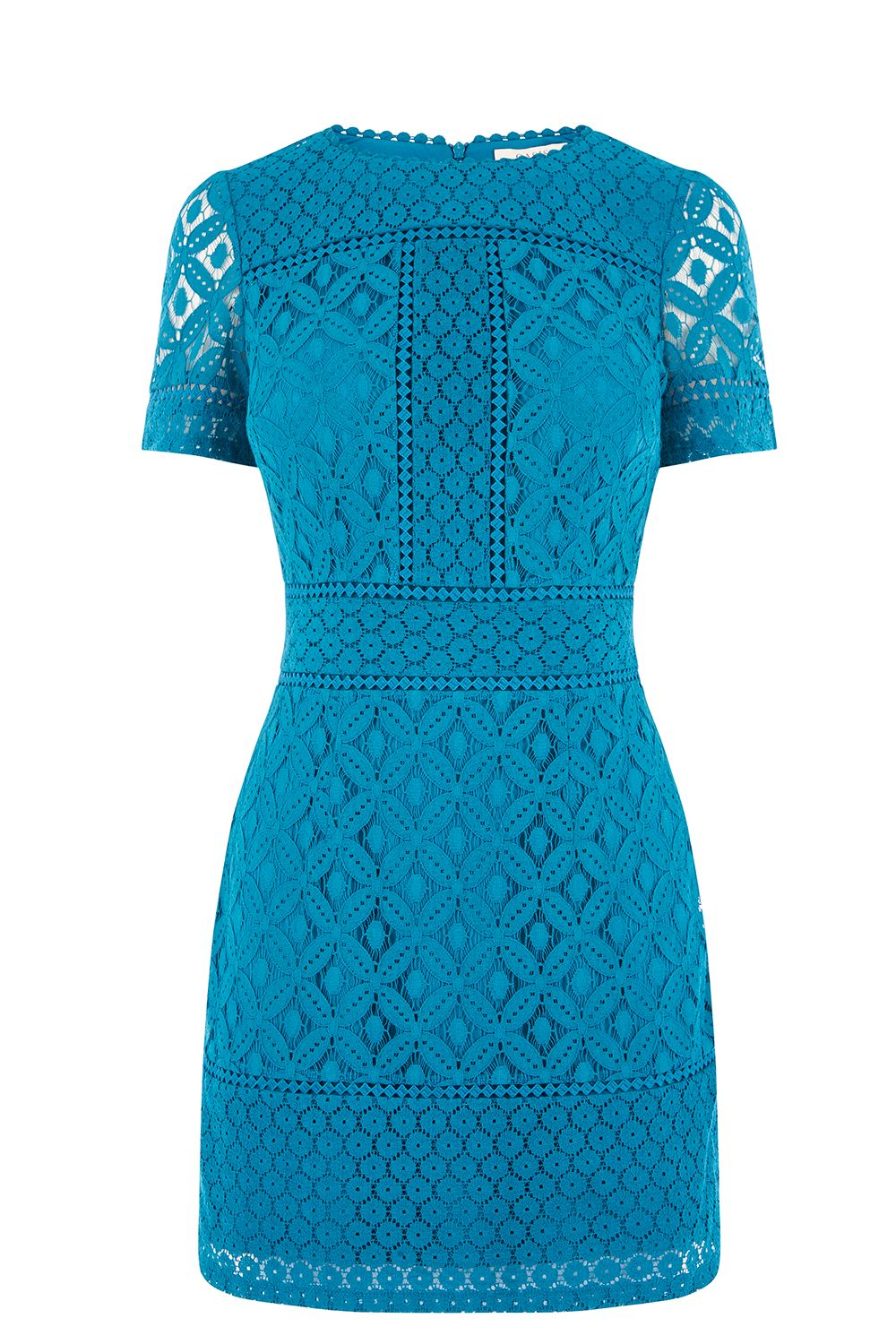 Oasis SHORT ISLA LACE SHIFT DRESS, Turquoise