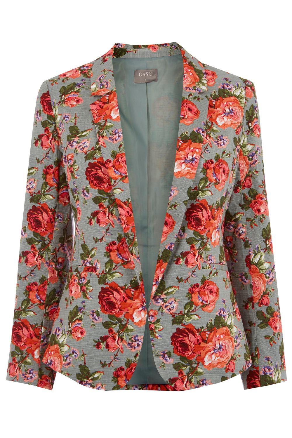 Oasis ROSE PRINT SUIT JACKET, Multi-Coloured