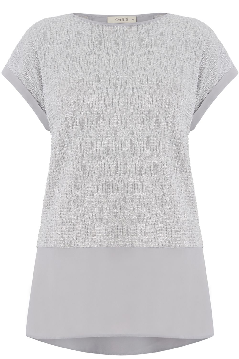 Oasis Crinkle Double Layer Tee, Silver