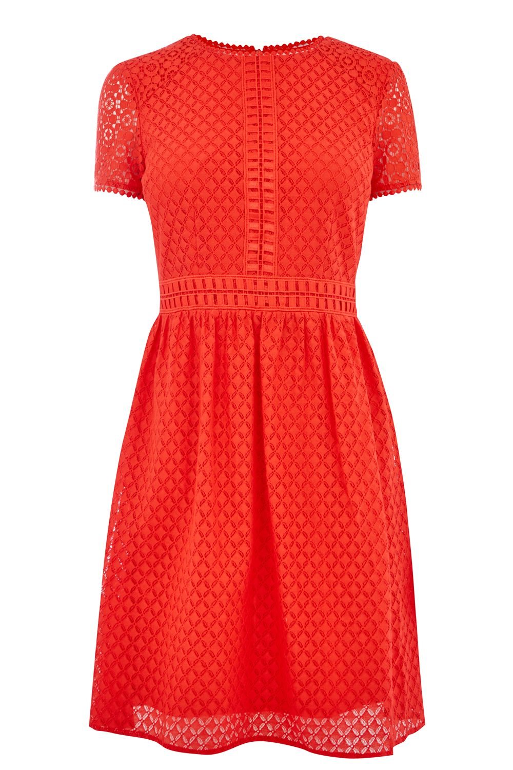 Oasis LACE DAY SKATER DRESS, Red