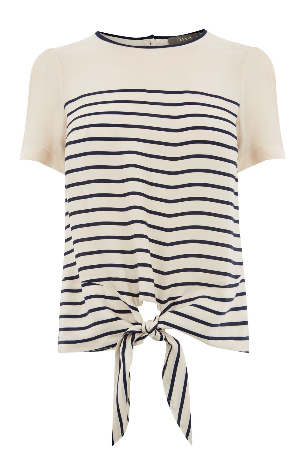 Oasis STRIPE TIE FRONT TEE, Multi-Coloured