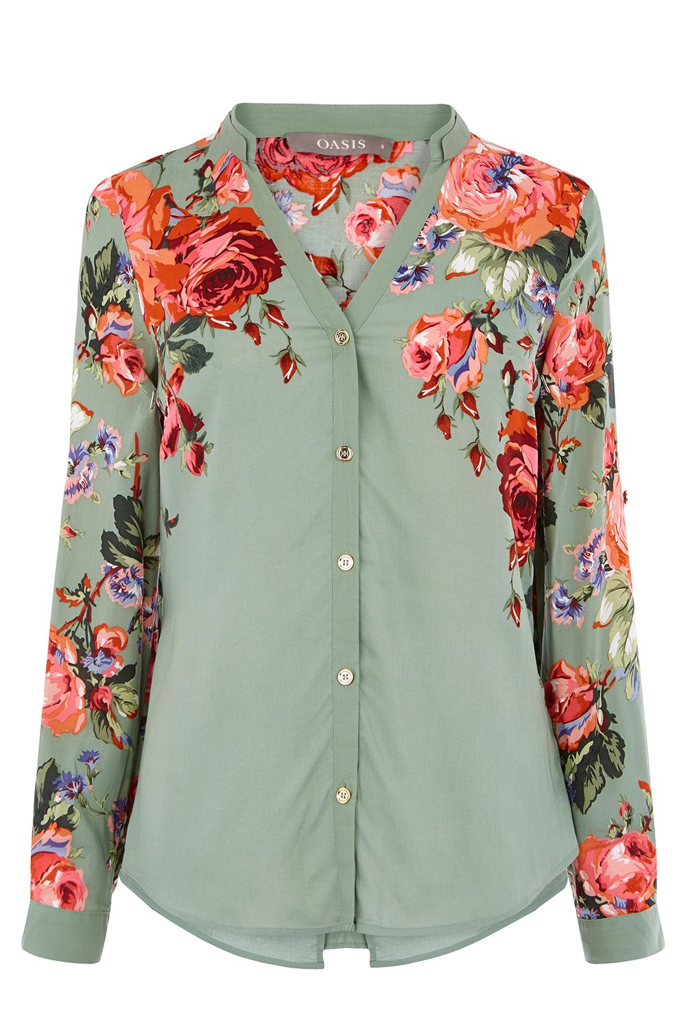 Oasis ROSE PRINT SHIRT, Multi-Coloured