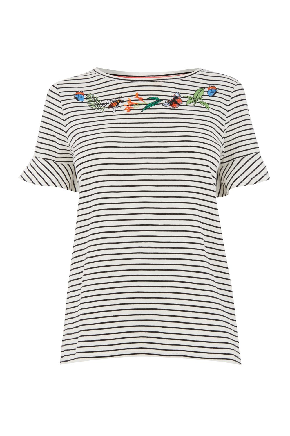 Oasis ZSL STRIPE FLUTE SLEEVE TEE, Multi-Coloured