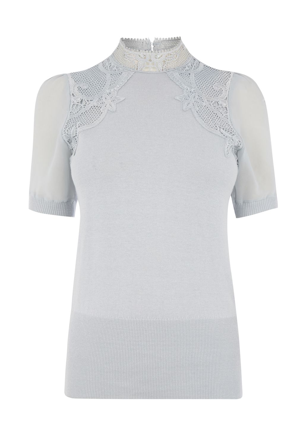 Oasis Lace and sheer SS knit, Mid Grey