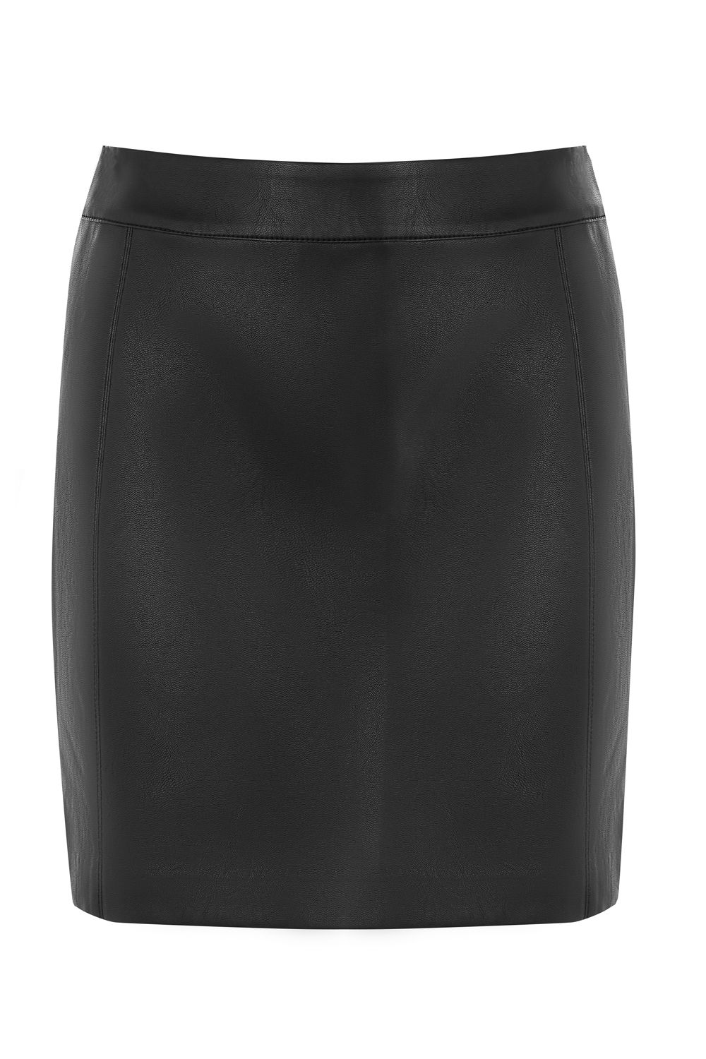 Oasis FAUX LEATHER SEAMED MINI SKIRT, Black