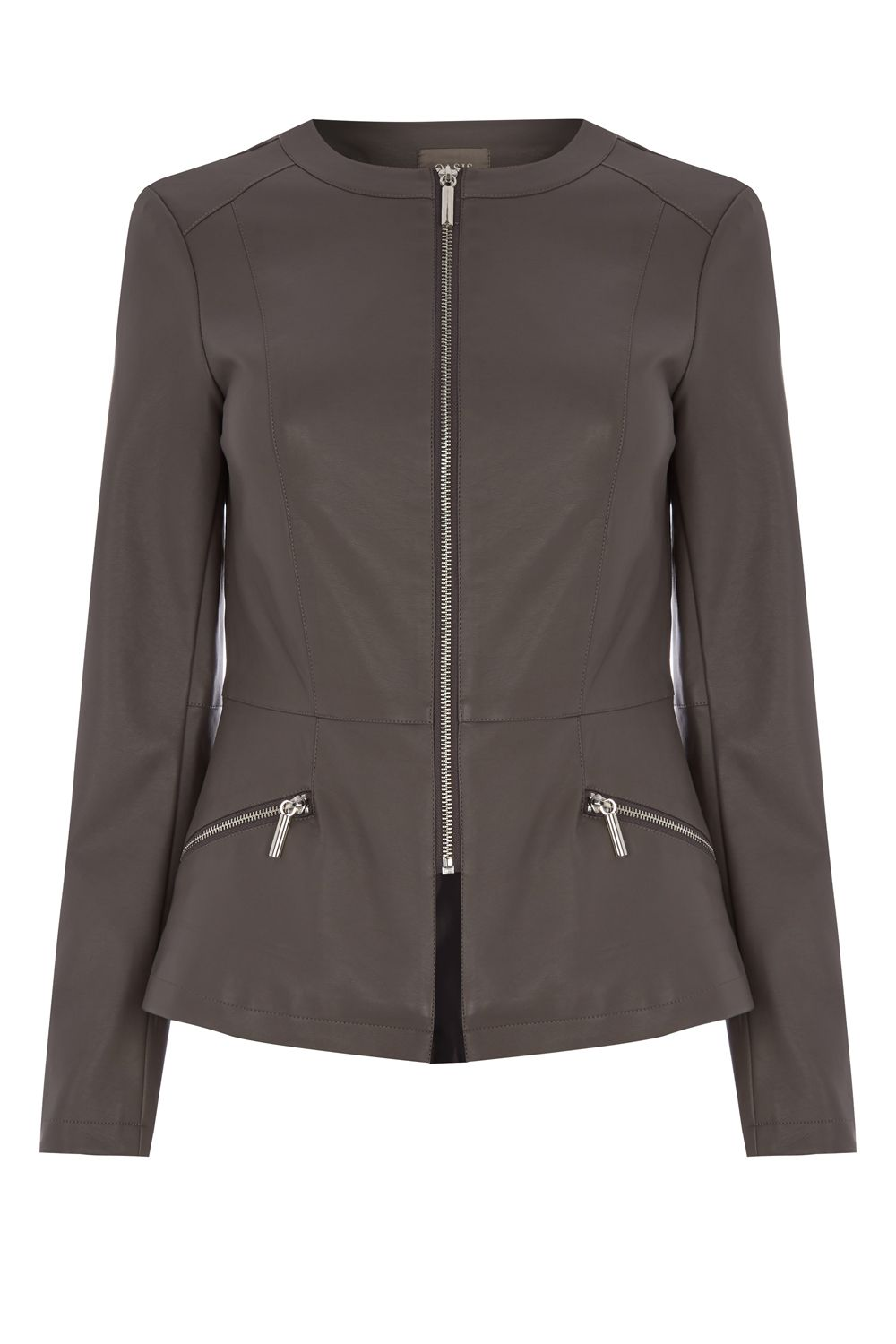 Oasis Faux Leather Collarless Jacket, Grey