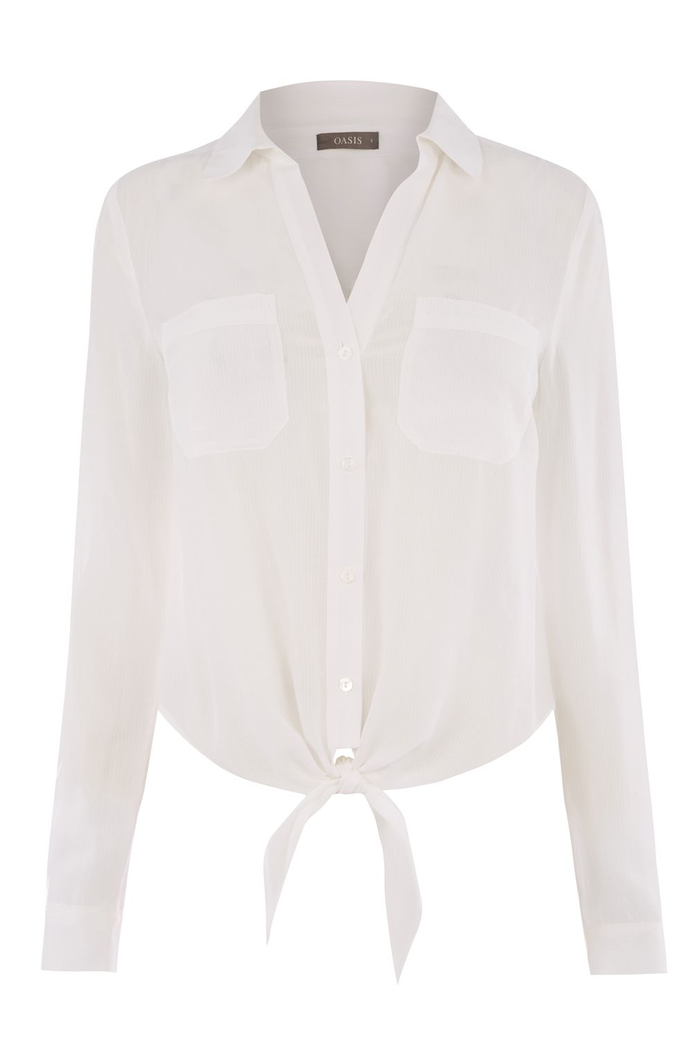 Oasis Tie Front Shirt, White