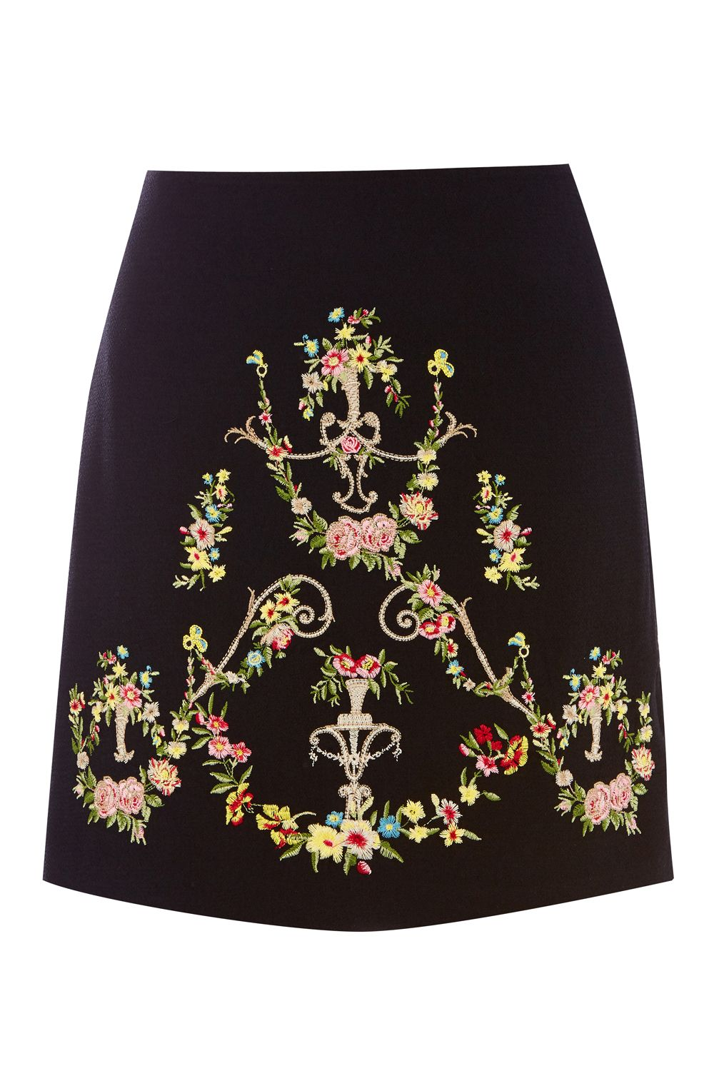 Oasis NINA EMBROIDERED SKIRT, Multi-Coloured