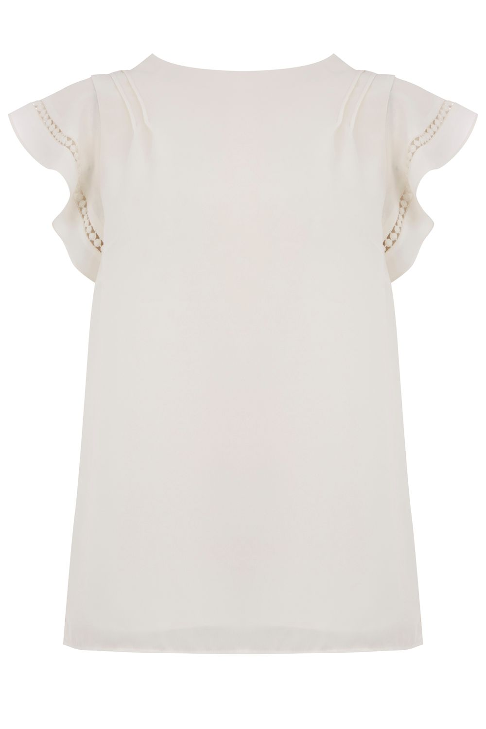 Oasis PLAIN FRILL TRIM TOP, Off White