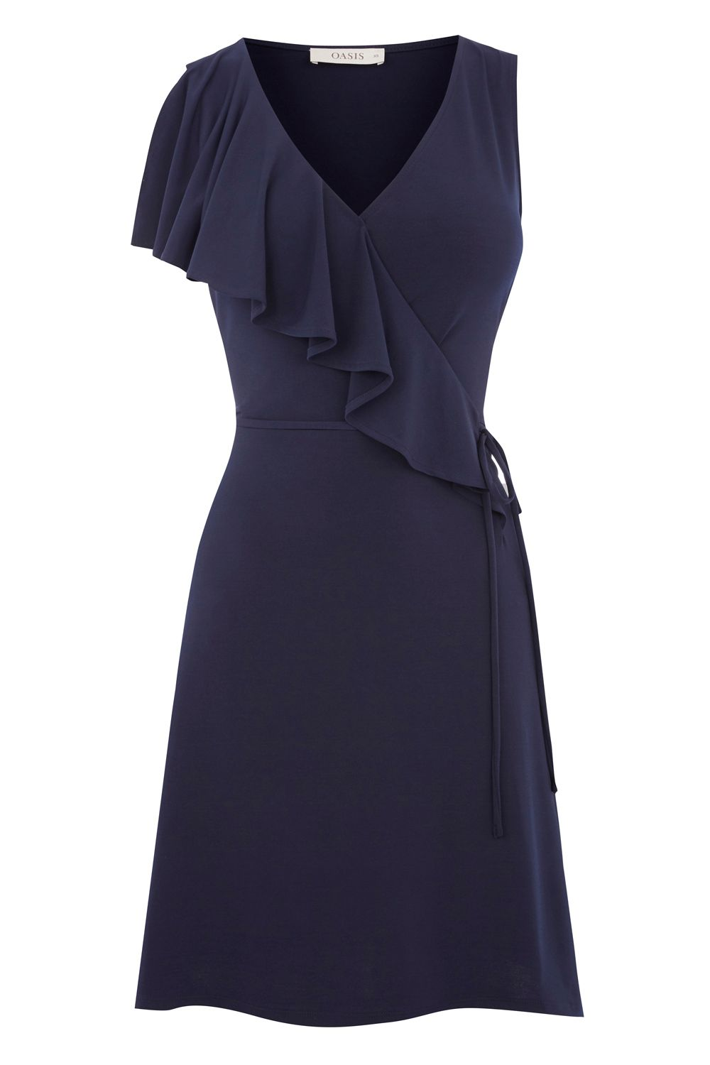 Oasis RUFFLE WRAP DRESS, Blue