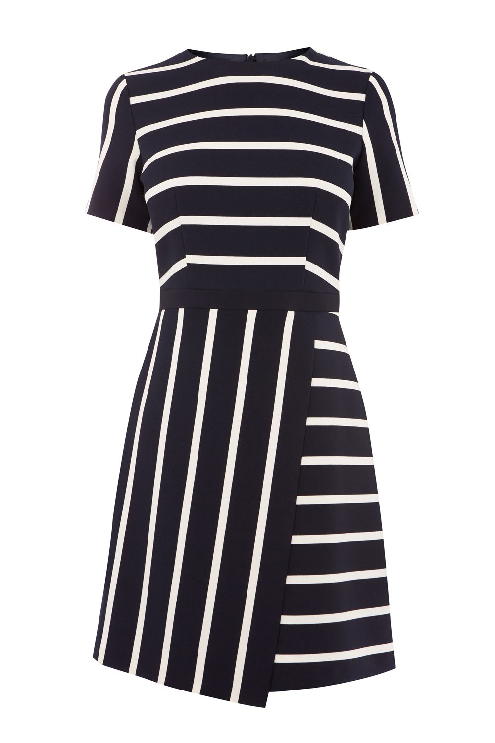 Oasis CUTABOUT STRIPE SHIFT DRESS, Multi-Coloured