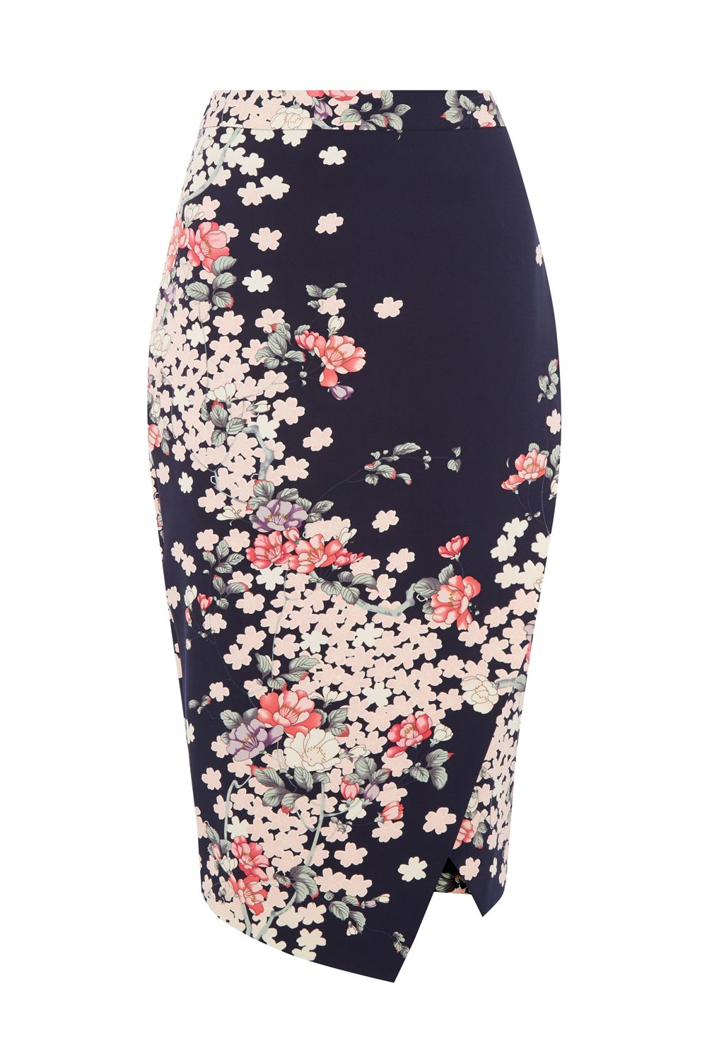 Oasis KIMONO WRAP PENCIL SKIRT, Multi-Coloured