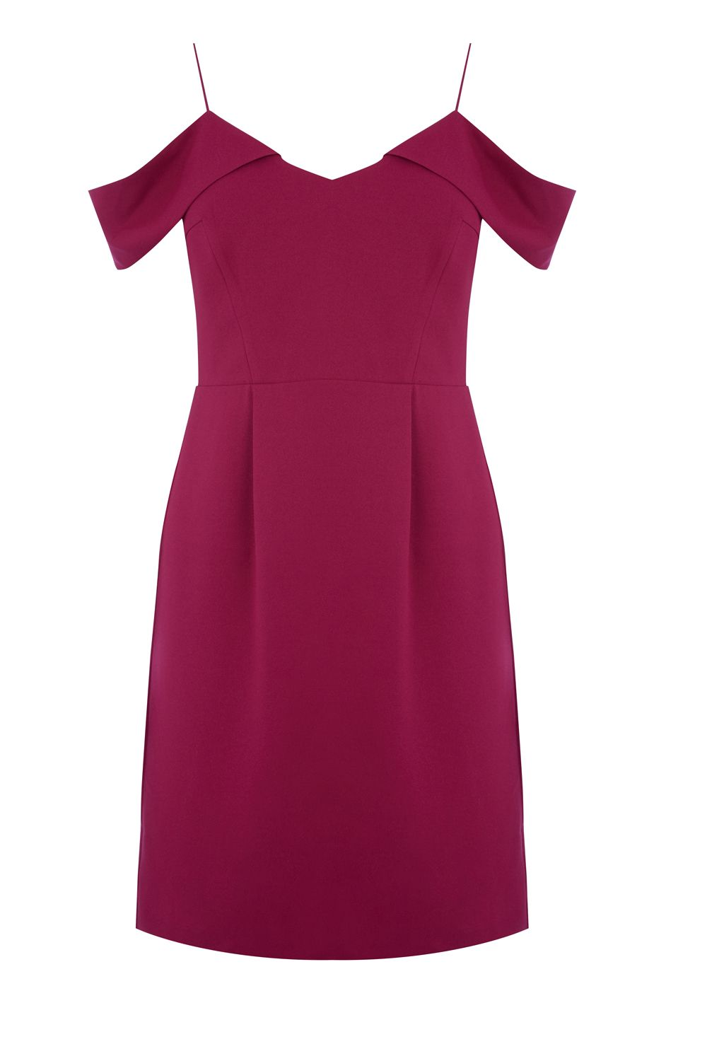 Oasis Bardot Dress Longer Length, Berry