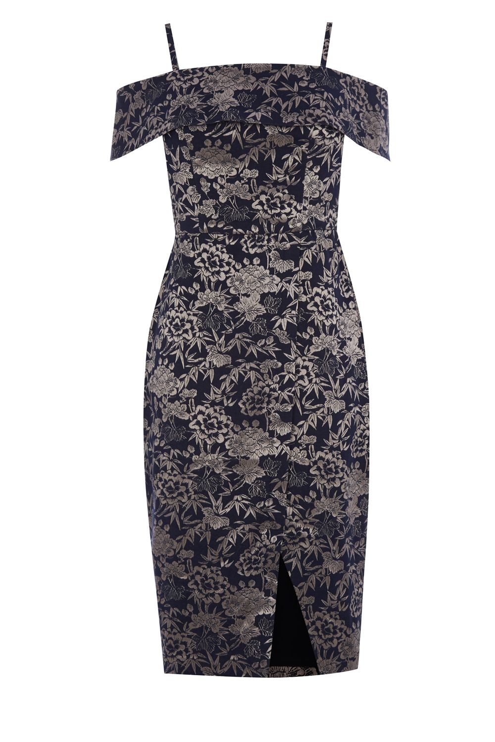 Oasis Jacquard Bardot Pencil Dress, Multi-Coloured