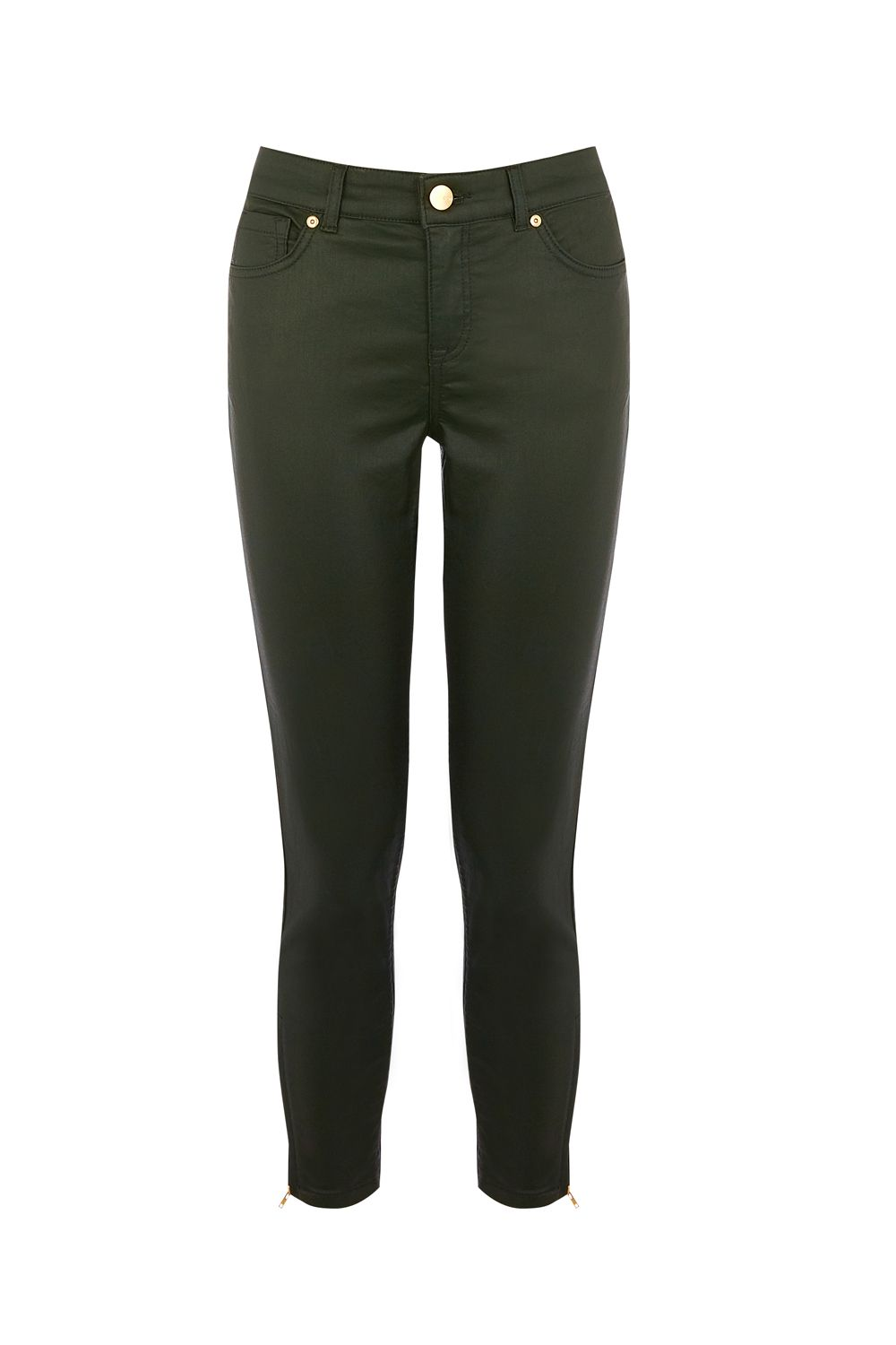 Oasis Dark Green Coated Isabella Jean, Khaki