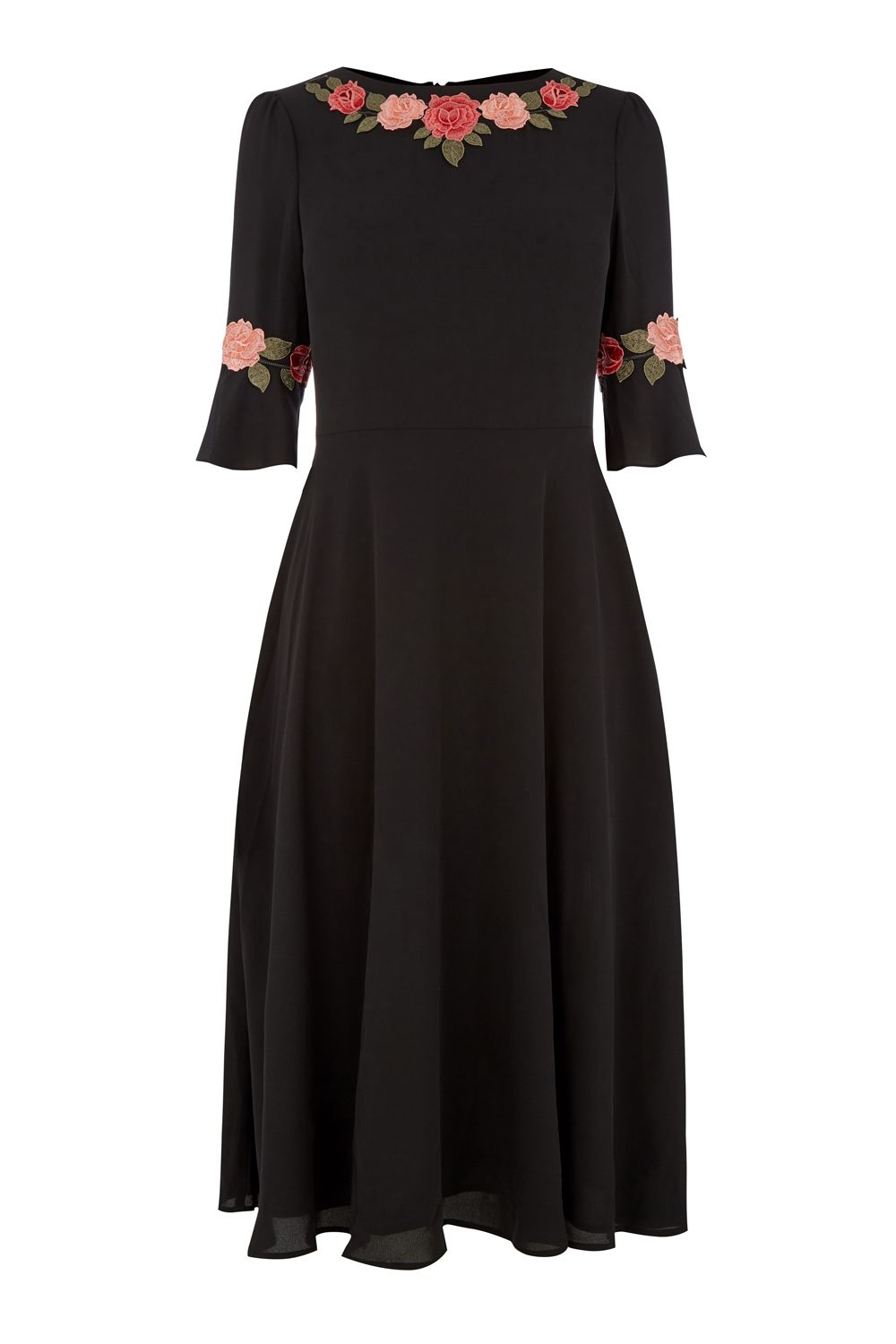 Oasis Fluted Sleeve Midi Dress, Black