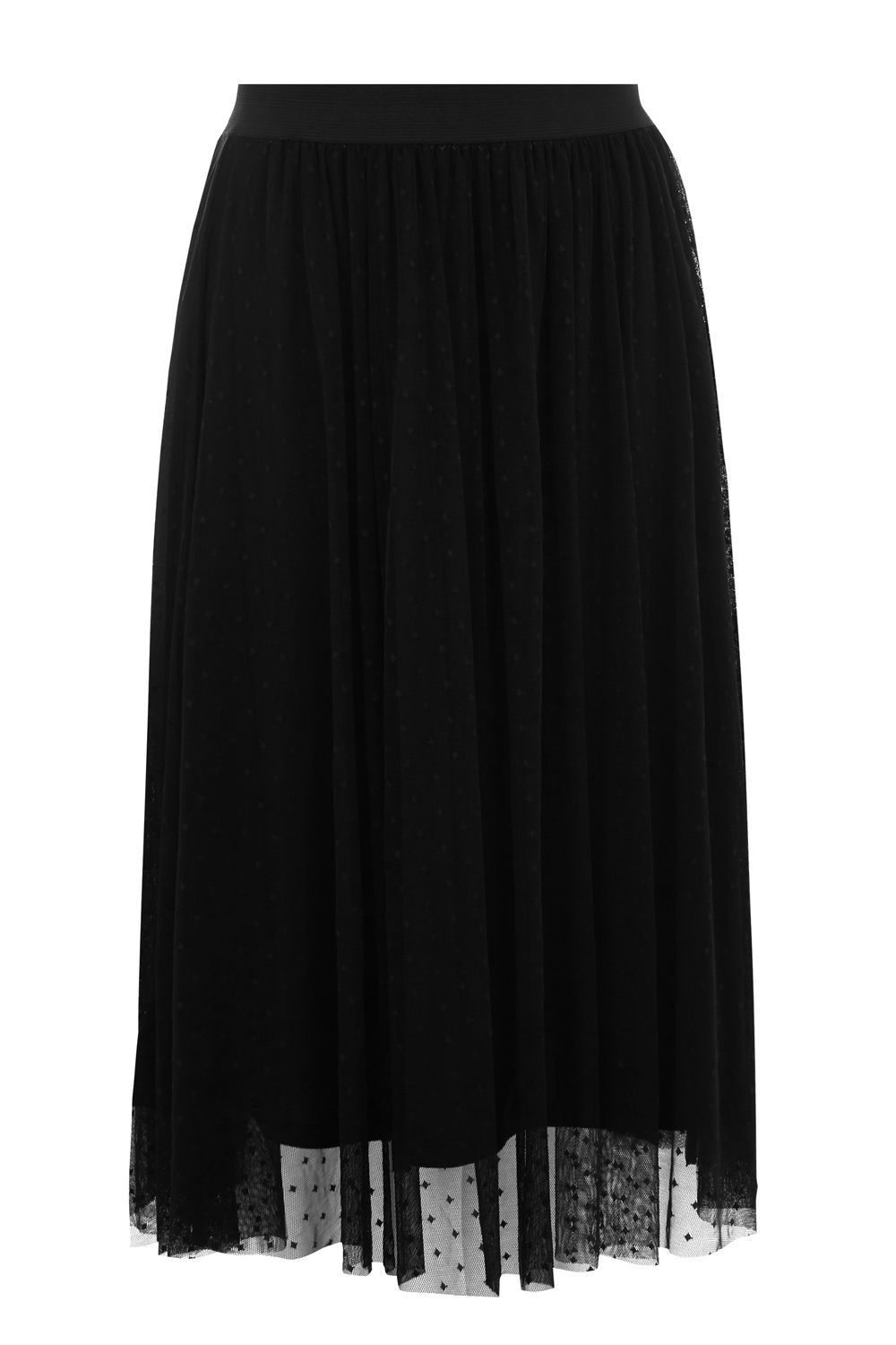 Oasis Spot Mesh Gathered Skirt, Black