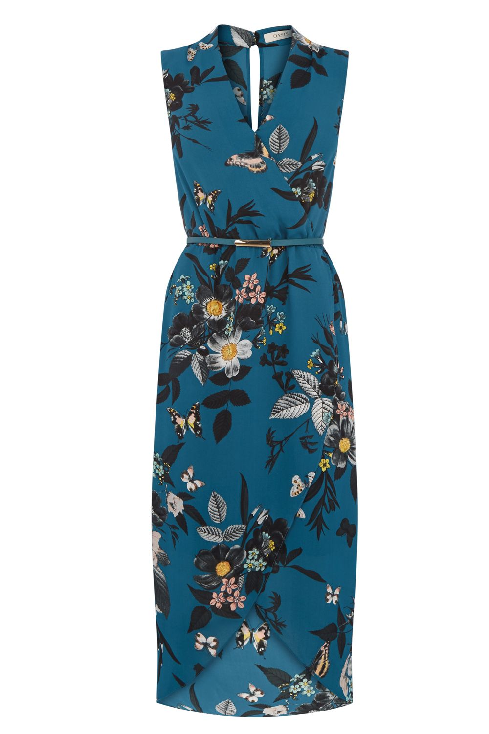 Oasis SHIPWRECKED WRAP FRONT MIDI, Multi-Coloured