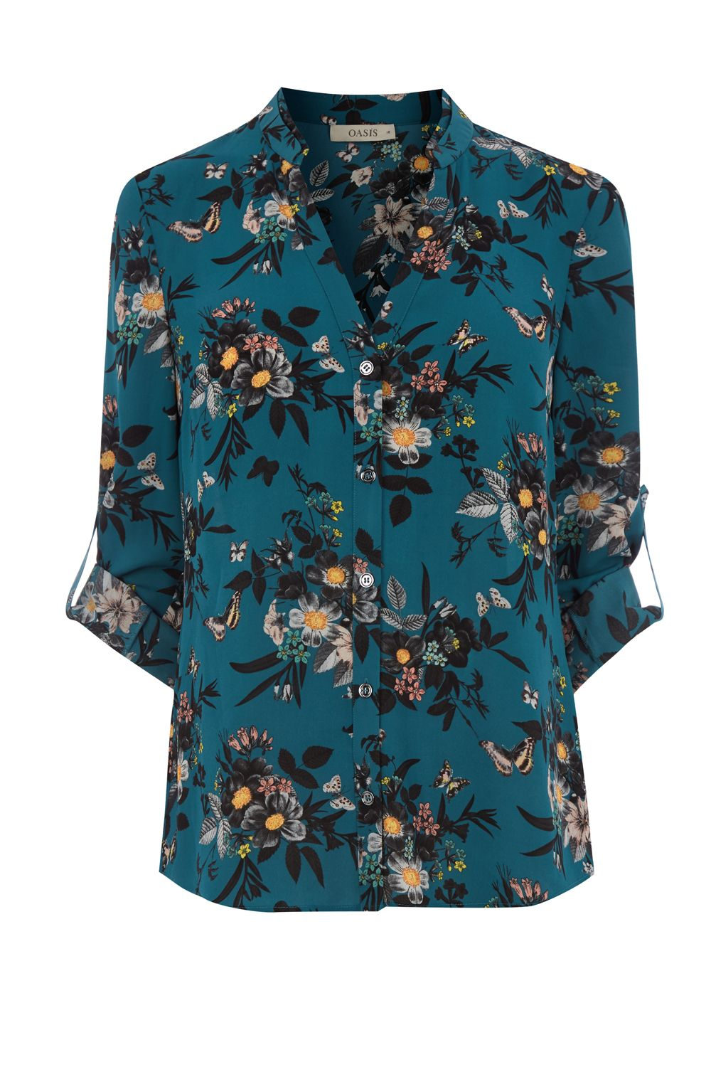 Oasis Ann Marie Frill Front Shirt, Multi-Coloured
