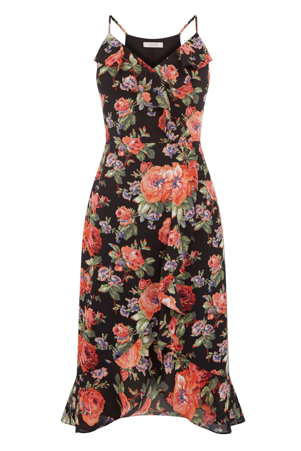 Oasis FRILL ROSE MIDI DRESS, Multi-Coloured