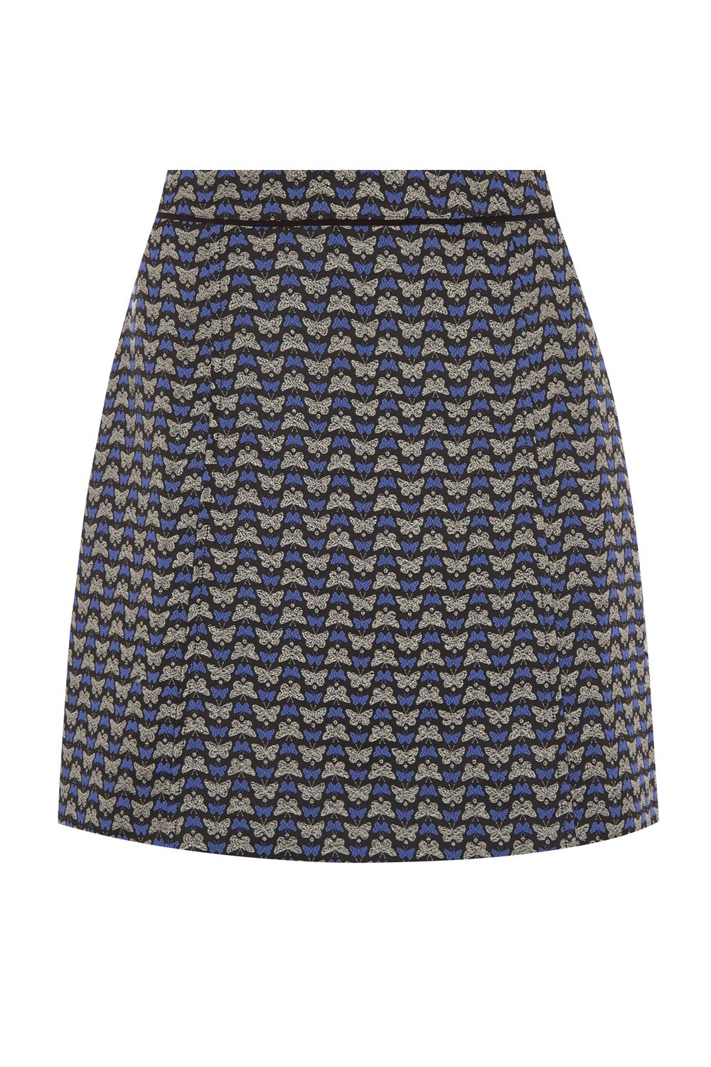 Oasis Butterfly Jacquard Skirt, Multi-Coloured