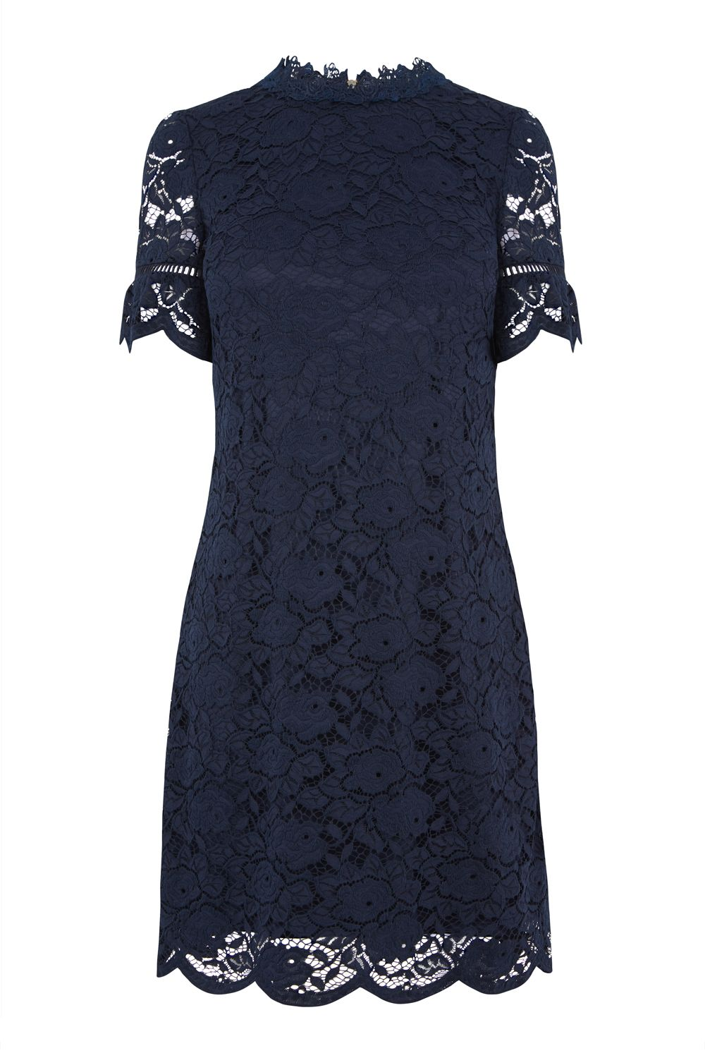 Oasis Lace Highneck Dress, Blue