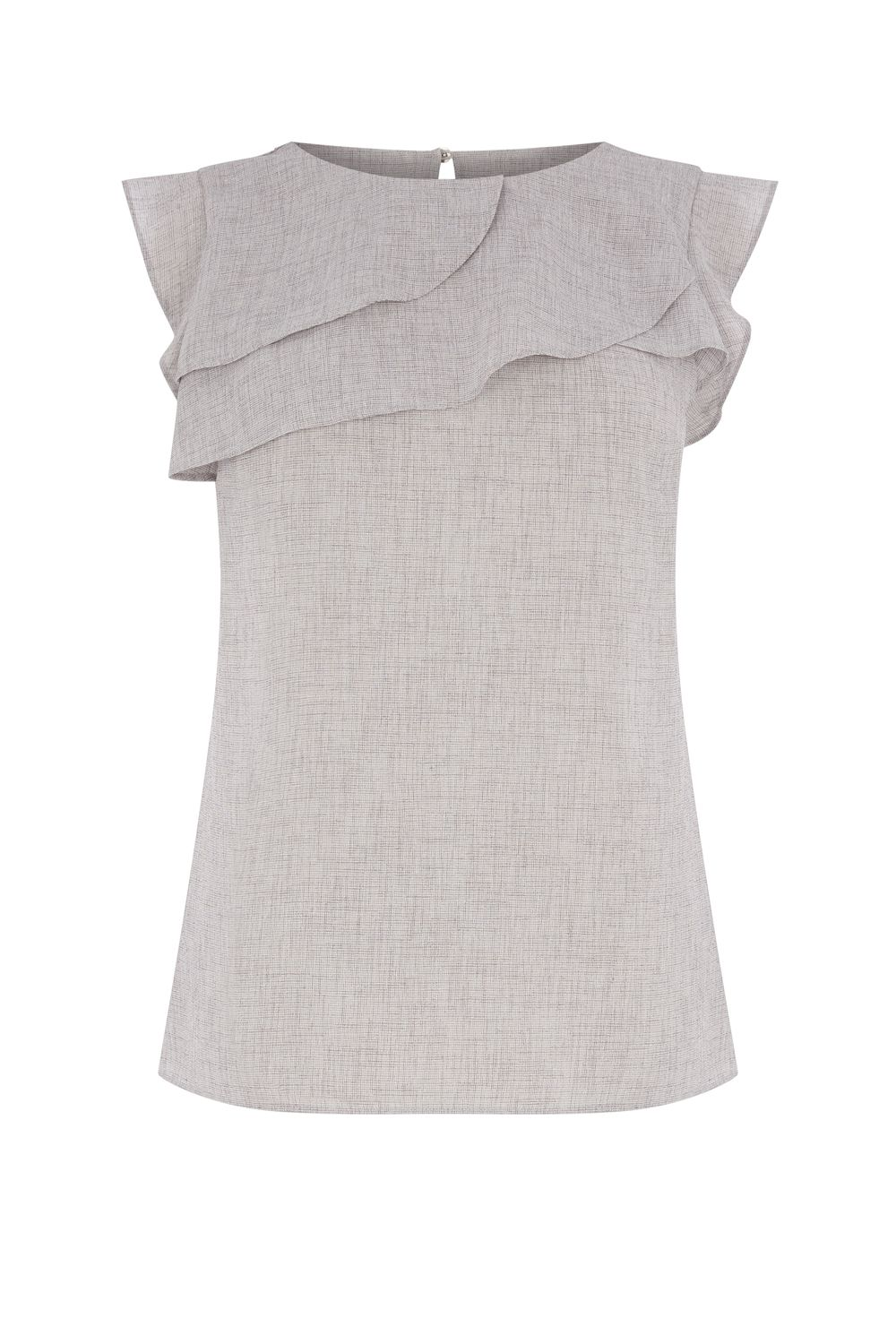 Oasis Linen Look Shell Top, Mid Grey