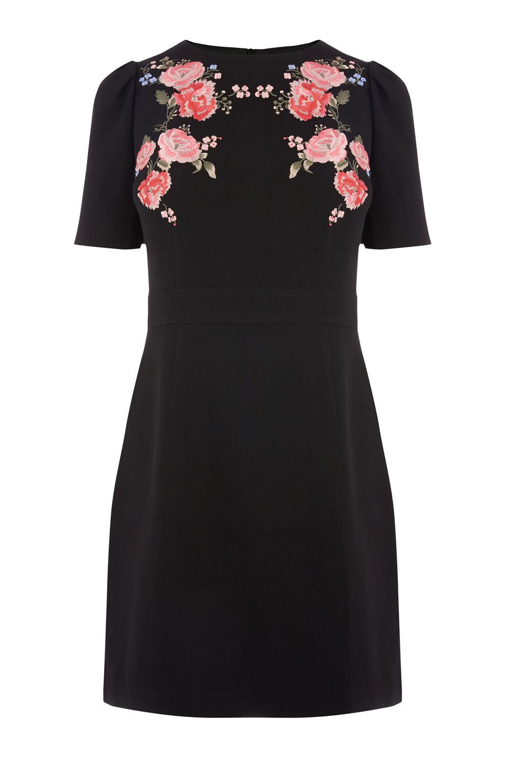 Oasis Rose Embroidered Shift Dress, Multi-Coloured