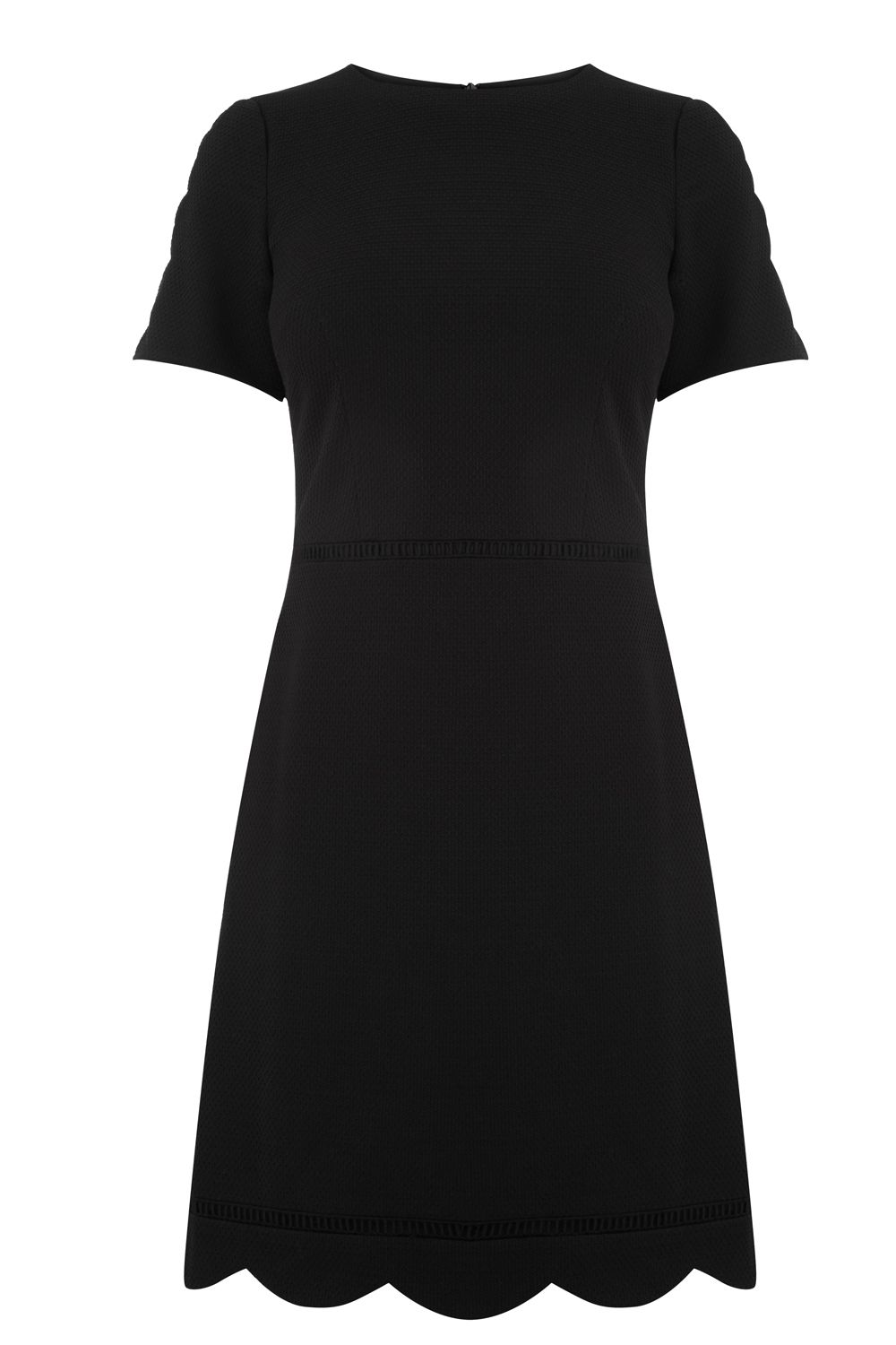Oasis SCALLOP SLEEVE DRESS, Black