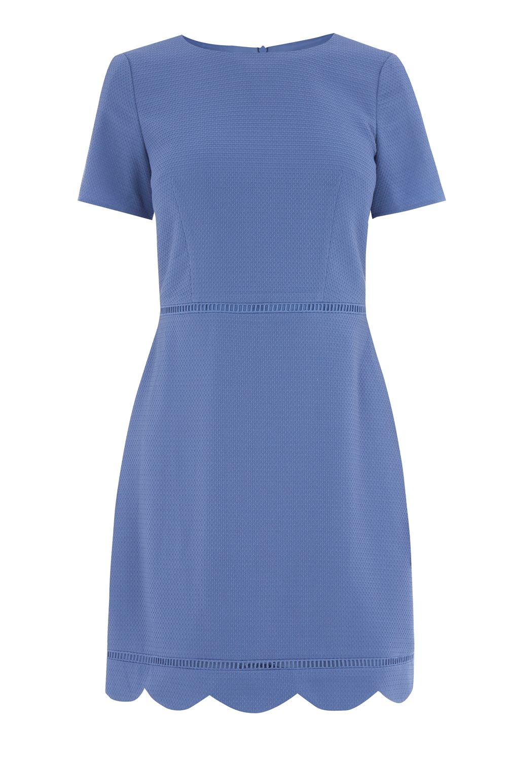 Oasis SCALLOP SLEEVE DRESS, Mid Blue