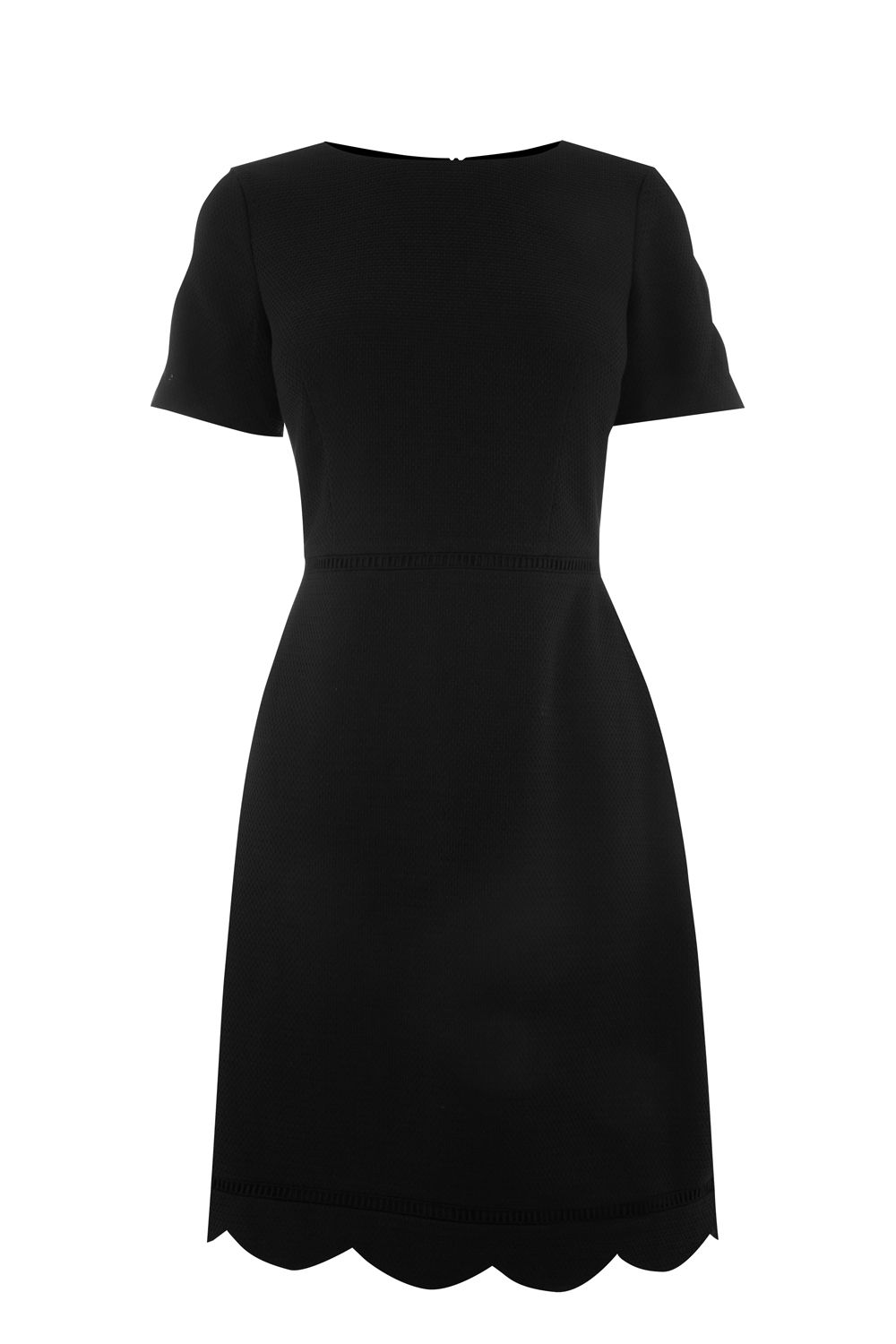 Oasis Scallop Sleeve Dress Longer Length, Black