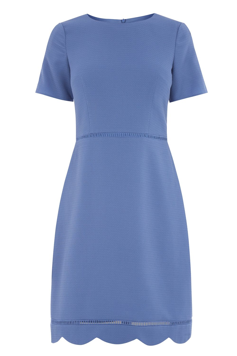 Oasis Scallop Sleeve Dress Longer Length, Mid Blue