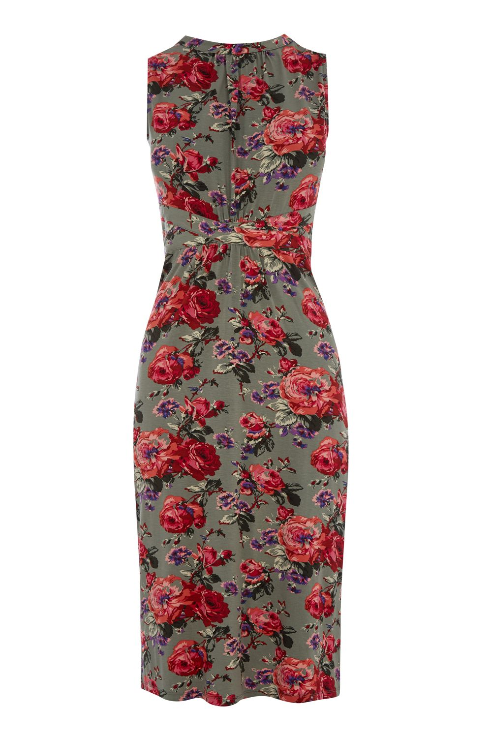 Oasis Rose Grecian Midi Dress, Multi-Coloured