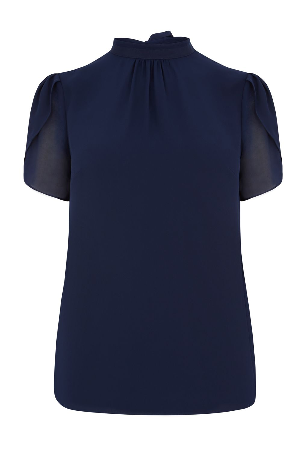 Oasis High Neck Angel Sleeve Top, Blue