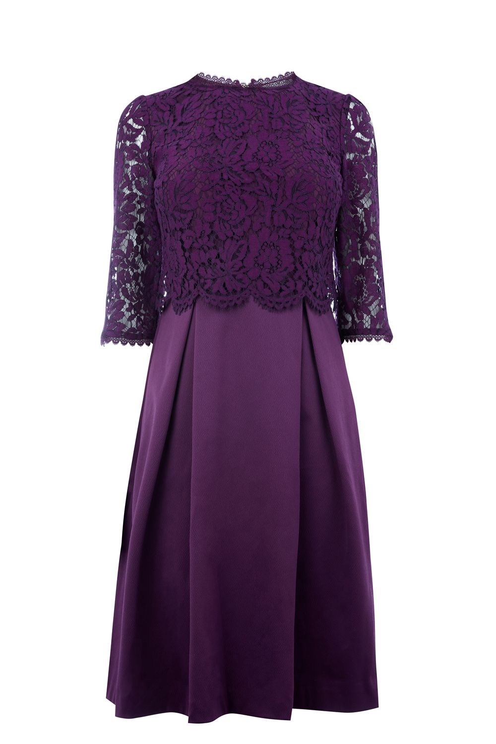 Oasis Long length lace bodice skater dress, Purple