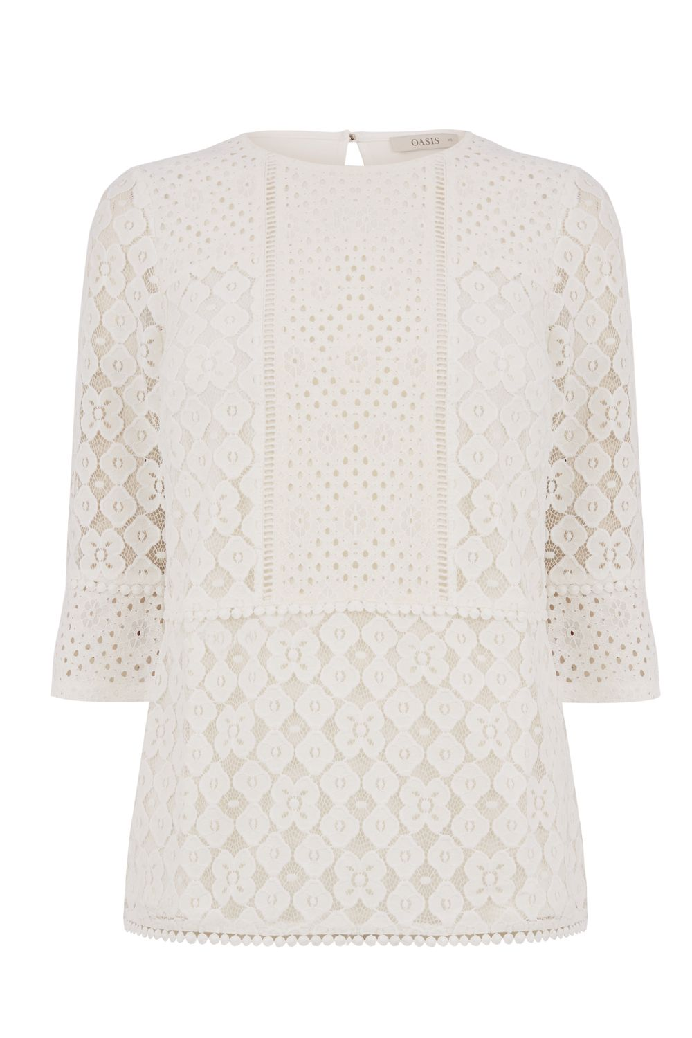 Oasis Kick Sleeve Lace Top, Stone
