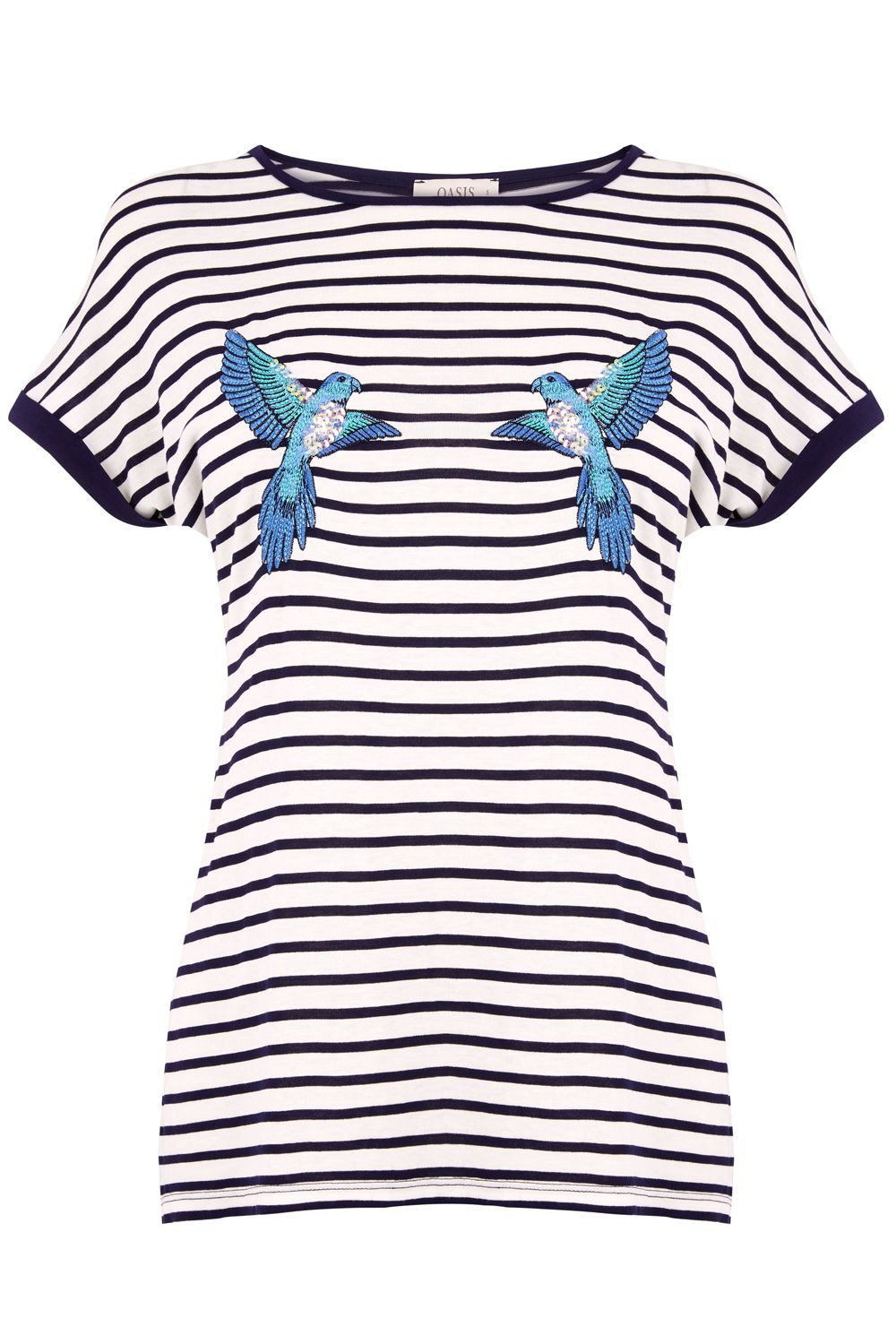 Oasis ZSL PARAKEET STRIPE TEE, Multi-Coloured