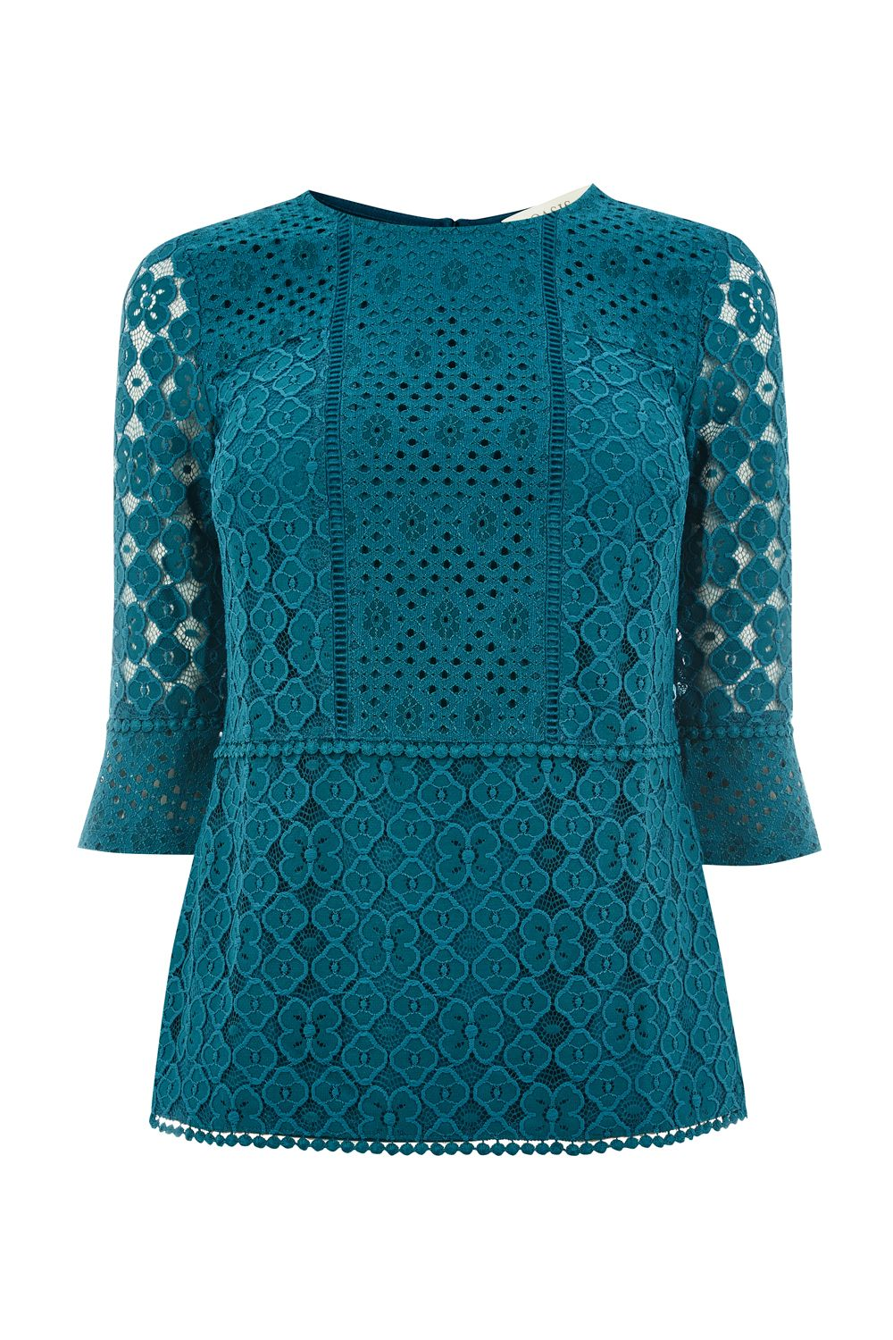 Oasis Kick Sleeve Lace Top, Turquoise