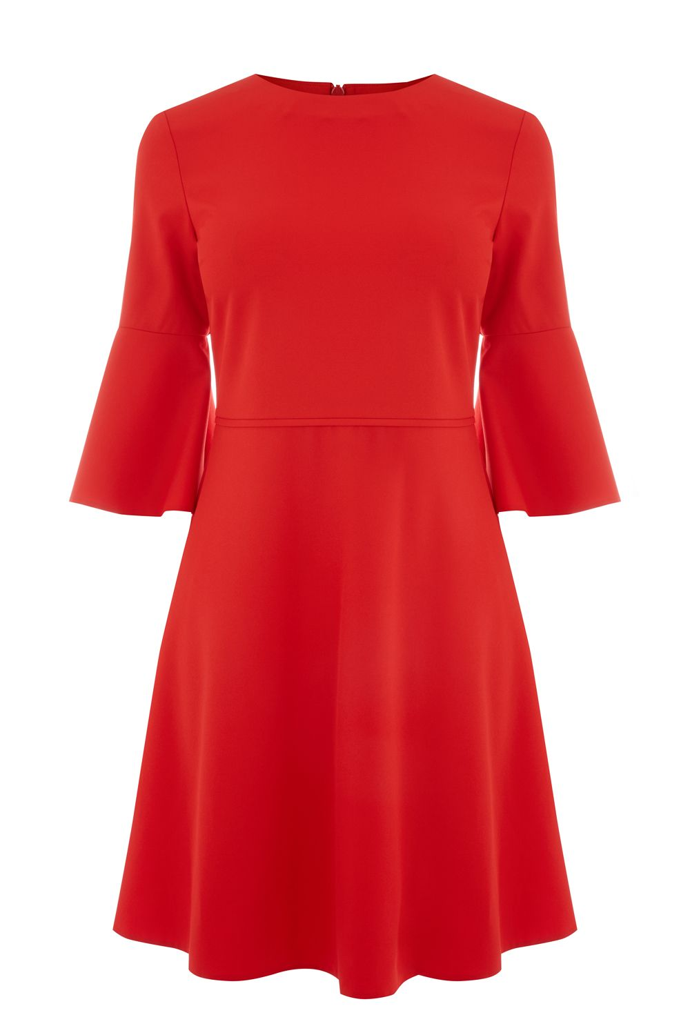 Oasis Flute Sleeve Dress, Red
