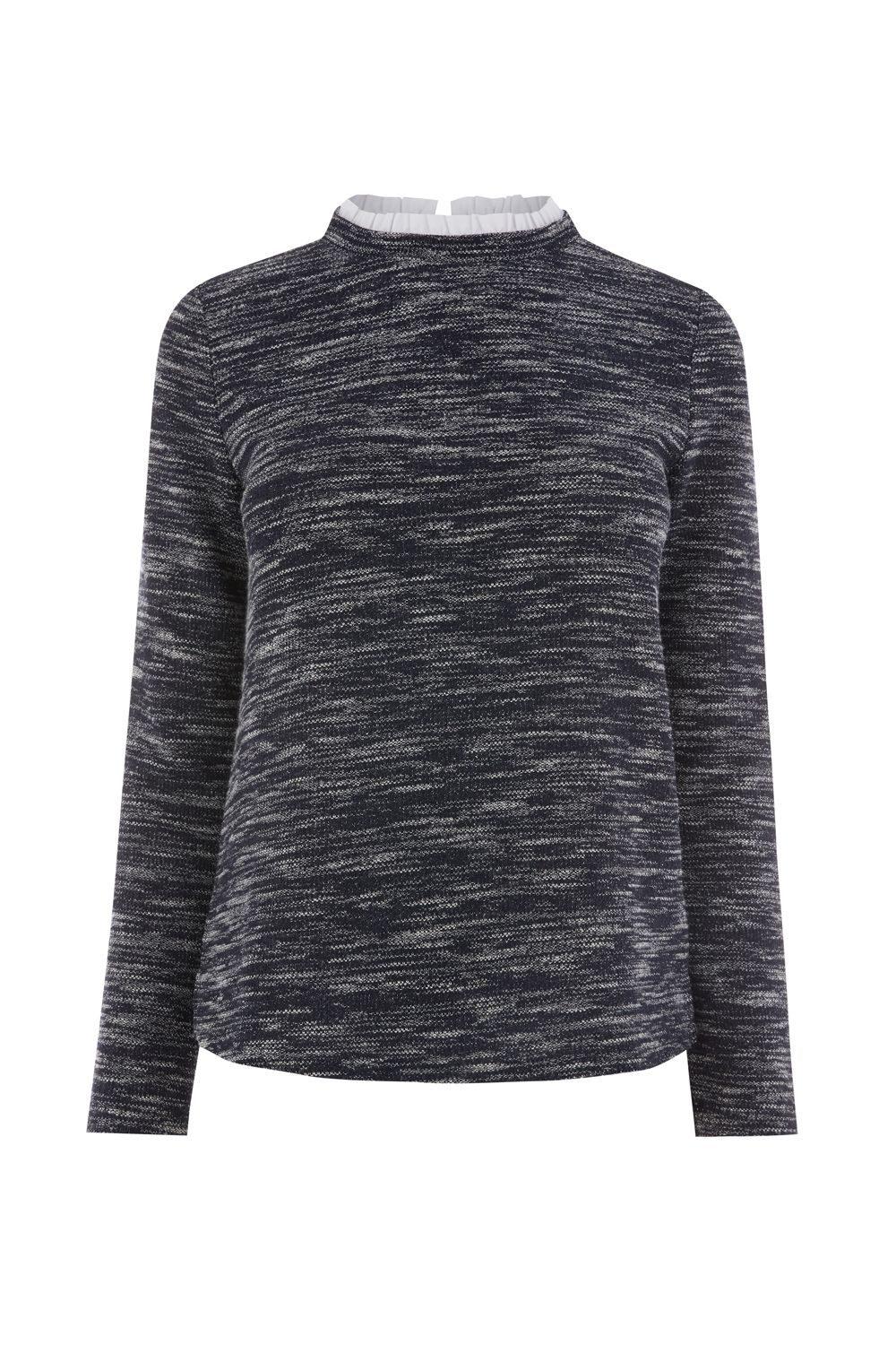 Oasis Tweed High Neck Sweat, Blue