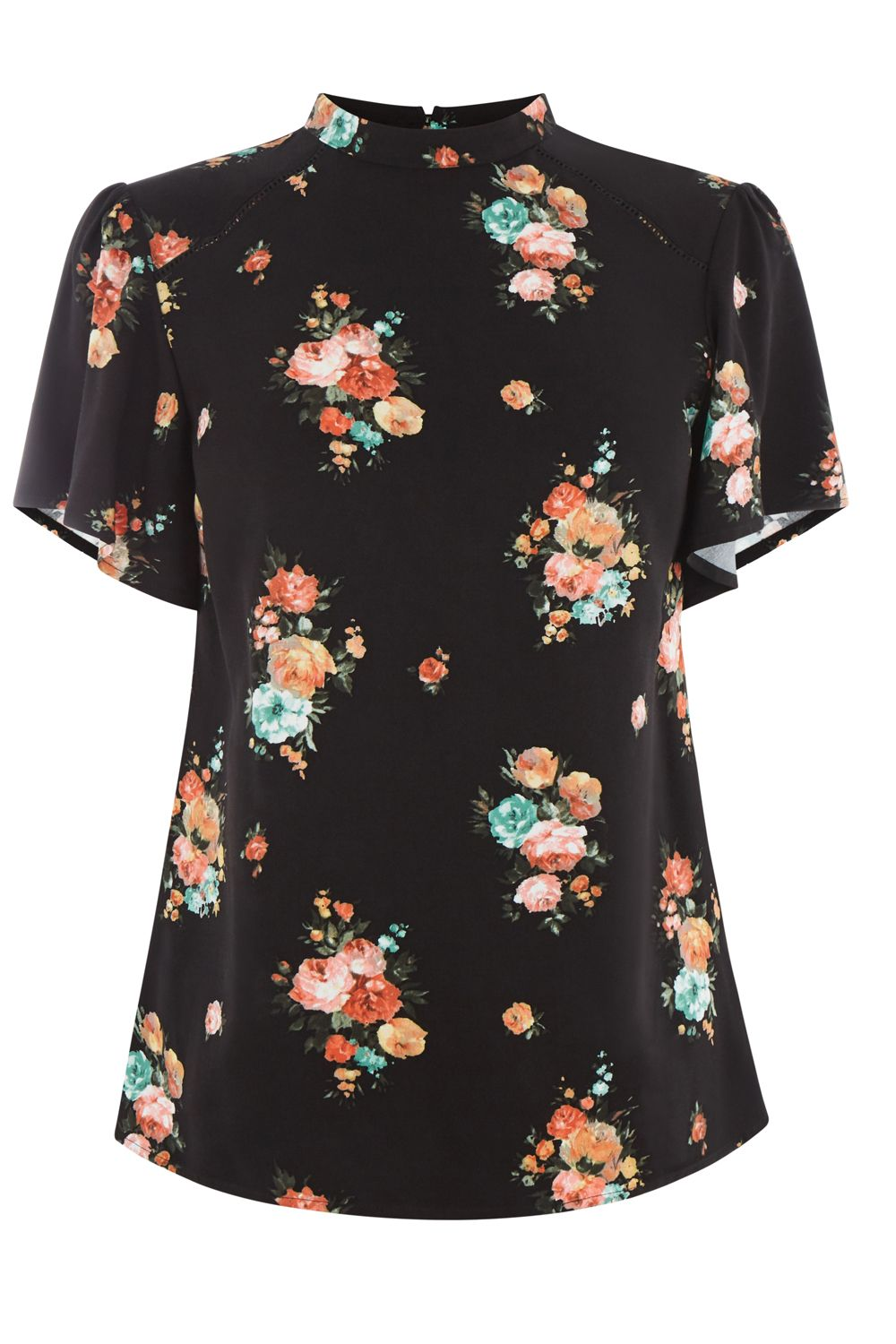 Oasis Bouquet Floral Angel Sleeve Top, Nearly Black