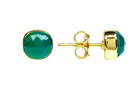 Latelita London Gold stud earring green onyx