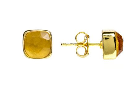 Latelita London Gold stud earring citrine hydro