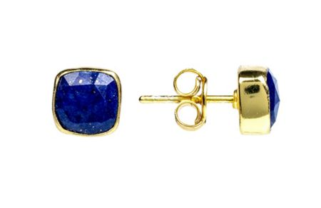 Latelita London Gold stud earring lapis lazuli