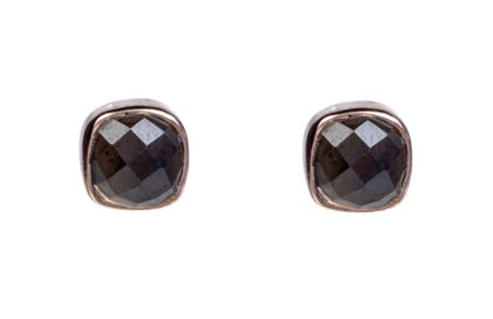 Latelita London Rosegold stud earring smokey quartz
