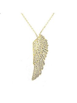 Large Angel Wing Necklace Gold