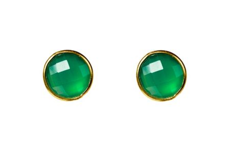 Latelita London Circle earring gold green onyx