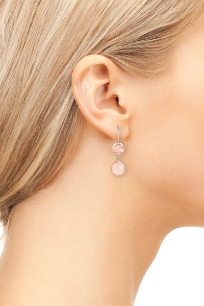 Latelita London Hammered earring rosegold rose quartz
